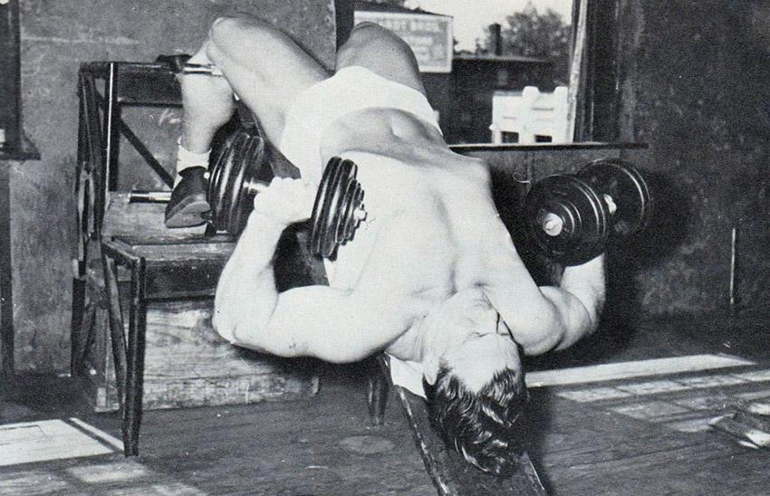 John Grimek weight training decline bench press