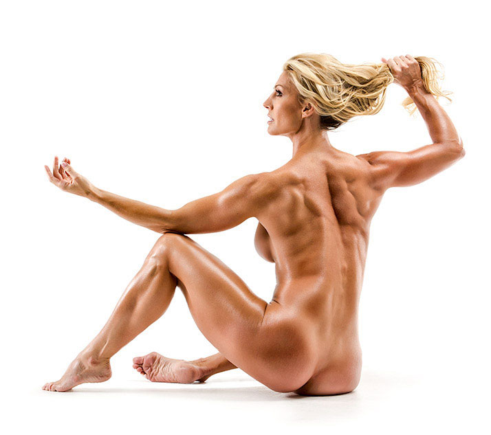 Callie Bundy posing naked showing her awesome physique flexing her muscles