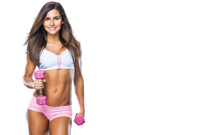 Alexia Clark posing in a fitness modeling photo shoot looking fit and lean