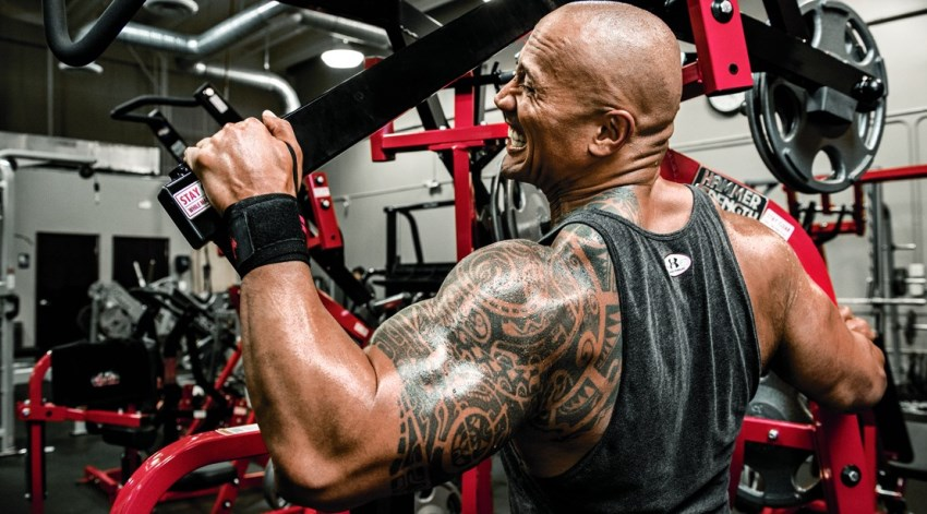 Dwayne Johnson The Rock training his back