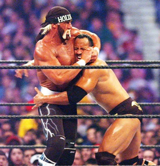 Dwayne Johnson The Rock wrestling with Hulk Hogan