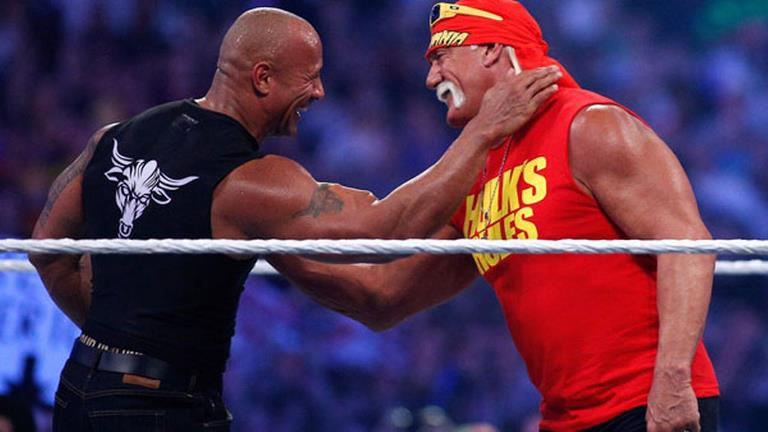 Dwayne Johnson The Rock and Hulk Hogan holding each other by the throat while smiling at each other