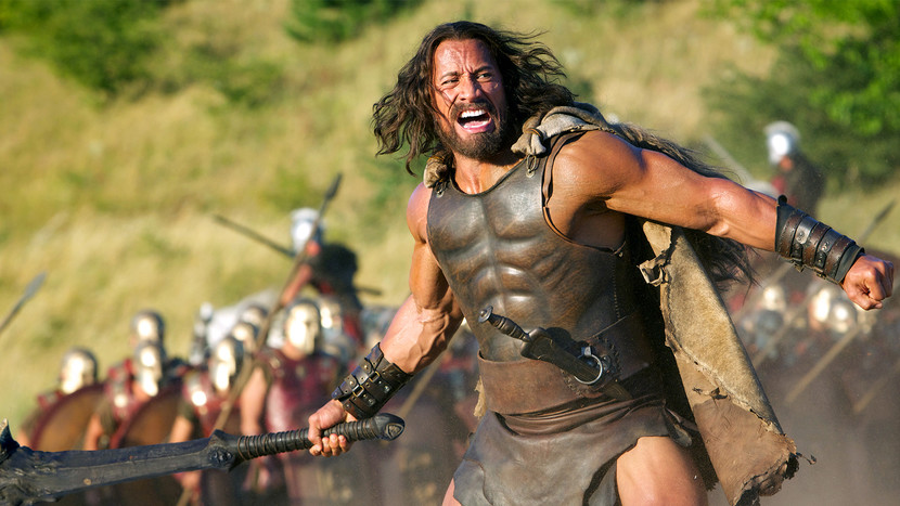 Dwayne Johnson The Rock in the movie Hercules, leading the battle