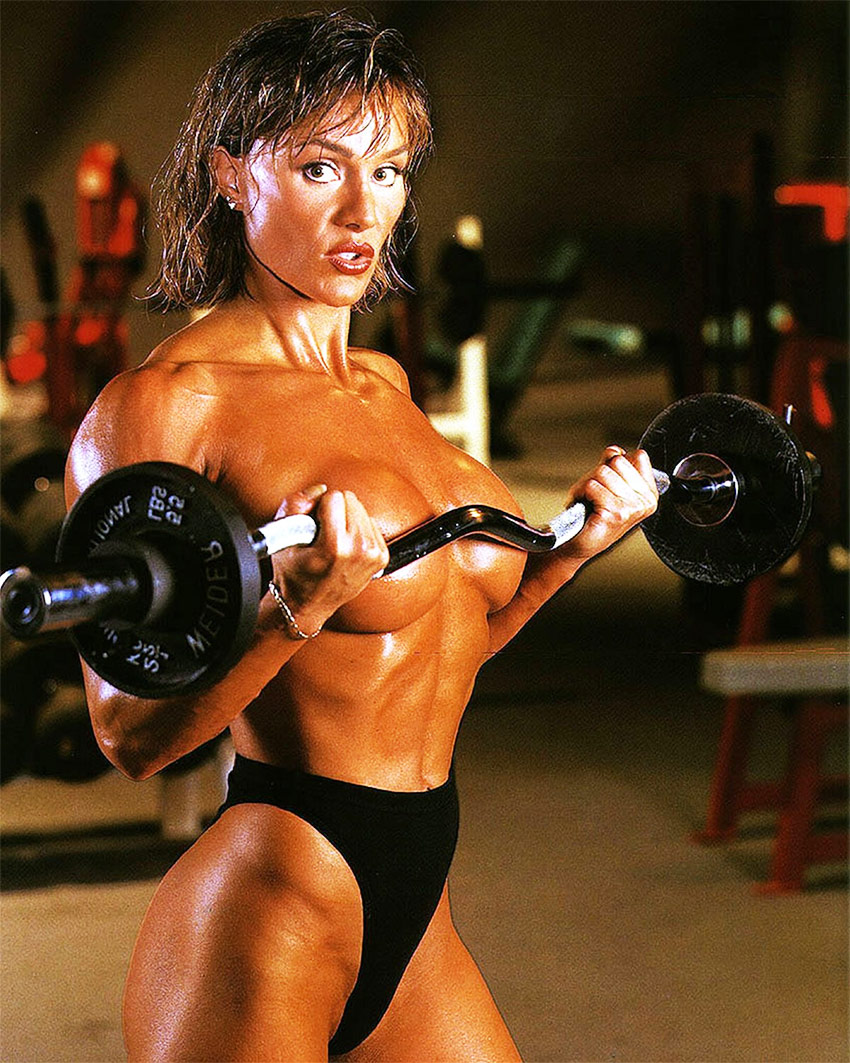 Corinna Everson performing biceps curls for the girls.