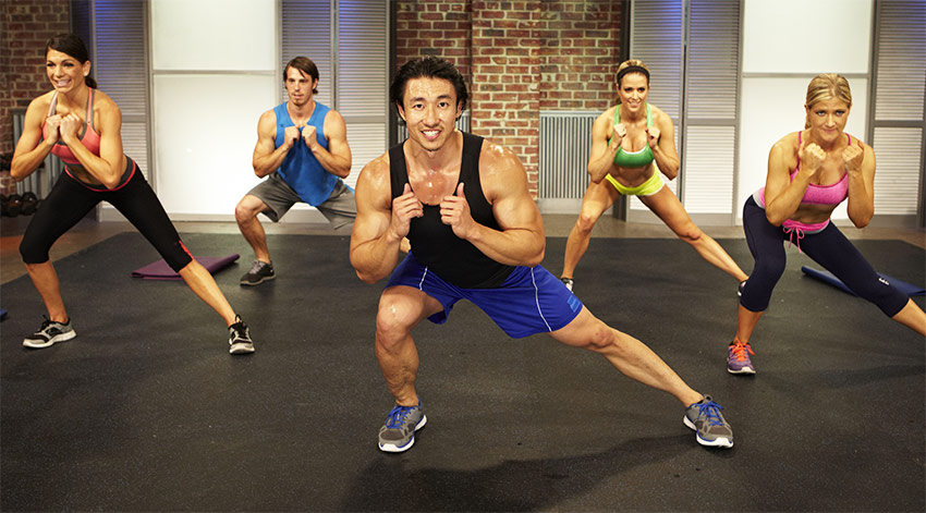 Mike Chang leading a fitness workout video on YouTube.