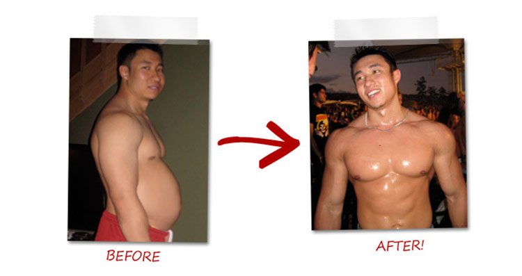 Mike Chang's transformation pictures, showing a picture of his belly on the left, and with a six pack on the right.