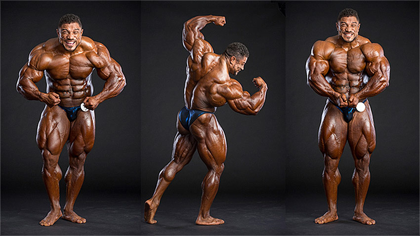 Roelly Winklaar showing a number of different poses that show his muscular body.