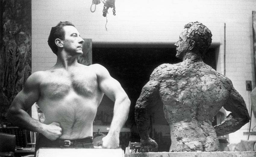 joe weider and his sculpture
