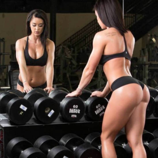 katy hearn with dumbbell rack