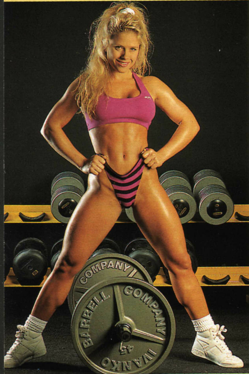 monica brant with barbell