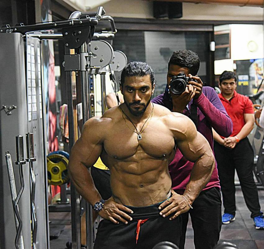 sangram chougule in gym