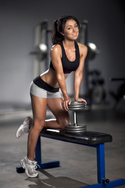 savannah rose neveux with a dumbbell