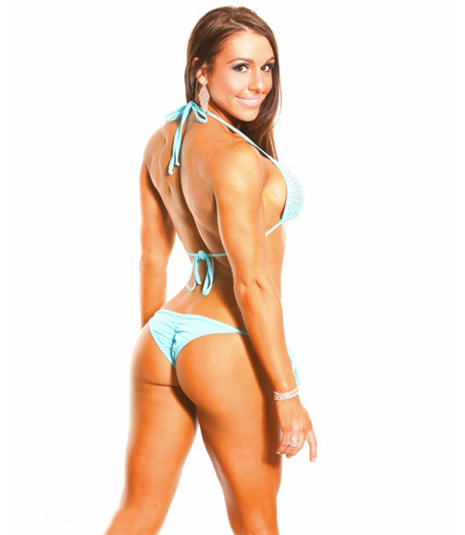 Alyssa Michelle Agostini in a bikini outfit, showing her awesome glutes, back, and arms