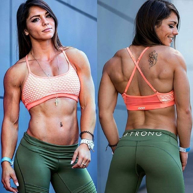 Christina Eleni standing in two pictures side by side. One showing her well defined back, the other, her arms and abs