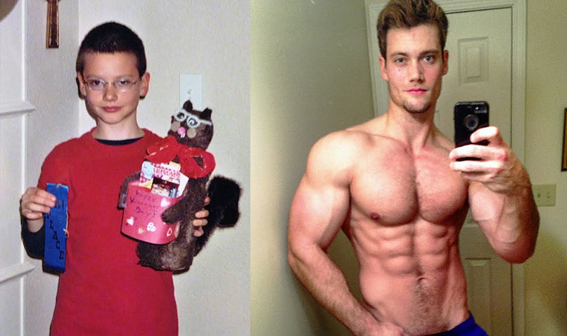 Connor Murphy's transformation picture showing his transition from a young boy to a well built natural bodybuilder