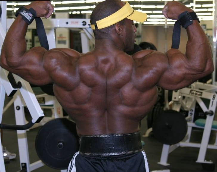 Darrem Charles showing his back during a gym session