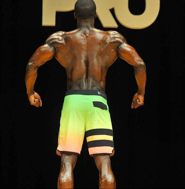 George Brown showing his back at a competition