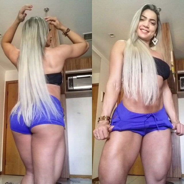 Gleycelilia Bracca stading side by side in two pictures one where she's showing her glutes and hamstrings, the other, flexing her quads and biceps