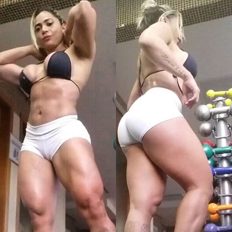 Gleycelilia Bracca standing side by side in two pictures, one where she's showing her glutes and hamstrings, and the other, where she's flexing her quads and abs while wearing short white shorts and a black bra