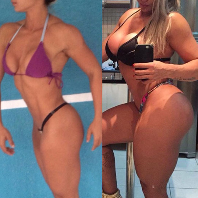 Gleycelilia Bracca standing side by side in two pictures showing her bodybuilding transformation into a muscular, and strong woman