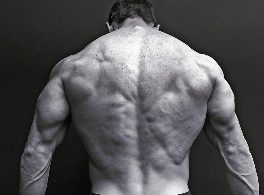 Jeff Cavaliere displaying his back definition and size for a photo on his Instagram.