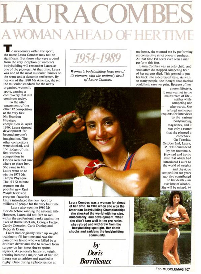 A tribute to Laura Combes from muscle magazine after her death.