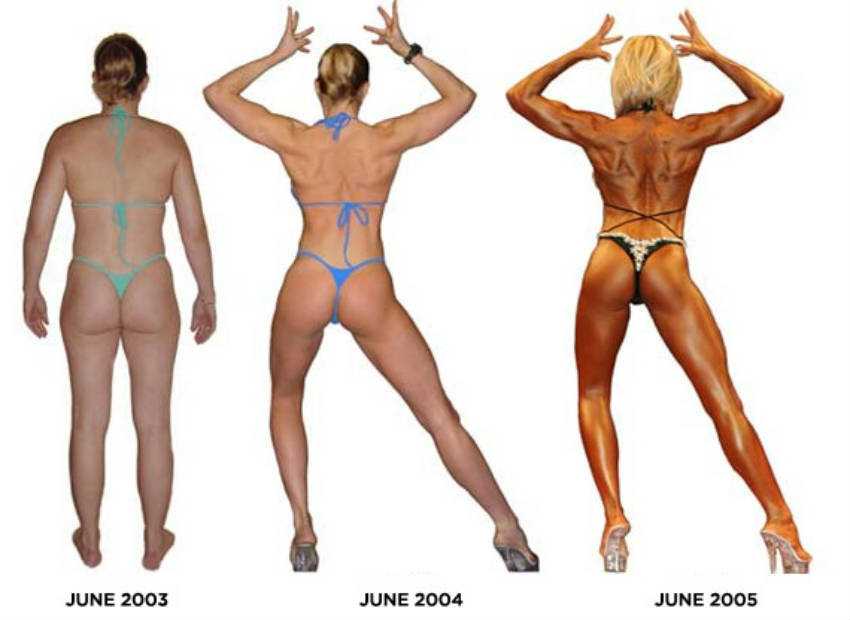 An image of Lindy Olsens physique transformation between June 2003 and June 2005