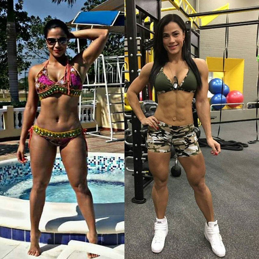 Luz Elena Echeverria Molina standing in two pictures comparing her bodybuilding transformation
