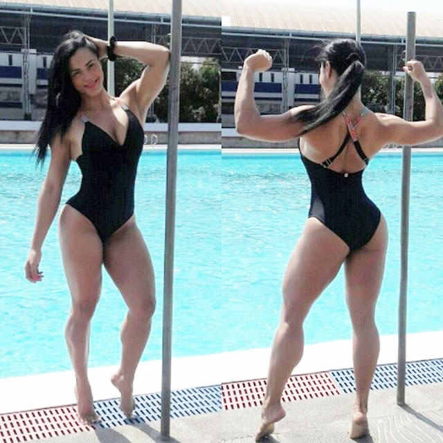 Luz Elena Echeverria Molina standing in two pictures side by side. One, where she's flexing her back muscles, and the other, facing the camera flexing her left bicep