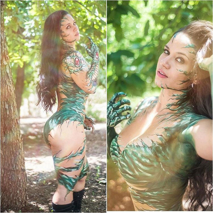 Renee Enos wearing a cosplay outfit in the woods