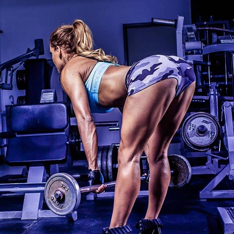 Sarah Allen doing deadlifts in the gym, as her hamstrings and glutes pop out
