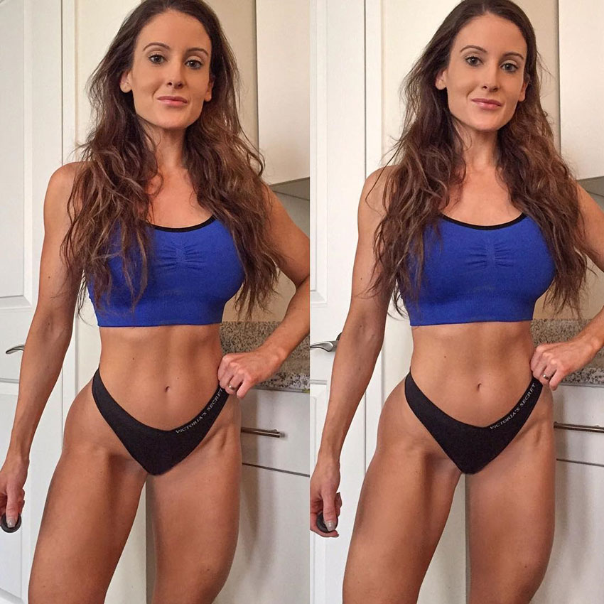 Shaunna Marie standing in her underwear while wearing a short blue top displaying her lean body