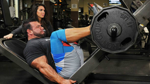 Steve Kuclo completing a leg press