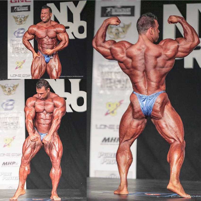 Steve posing at a competition from 3 angles