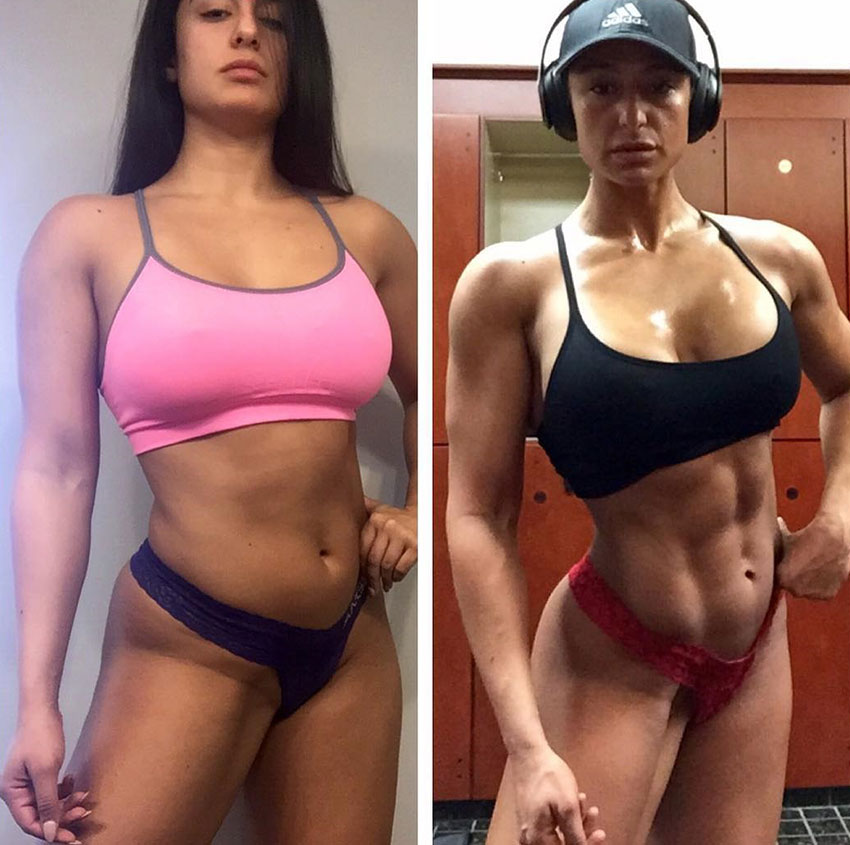 Valia Ayyar standing in two pictures showing her transformation with flexed abs