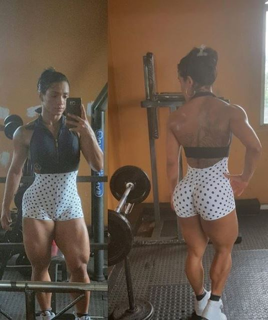 Clarice Andrade showing her ripped legs, calves, back, and arms, posing in a gym