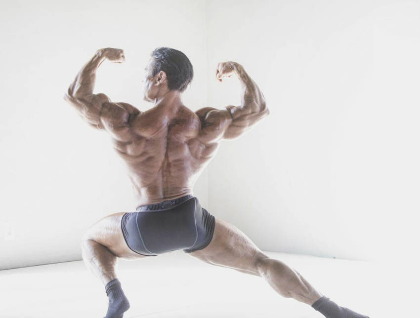 danny hester showing his back in stretched pose