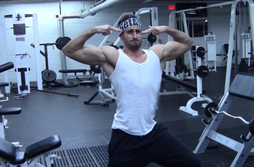 Dom Mazzetti doing silly posing in the gym
