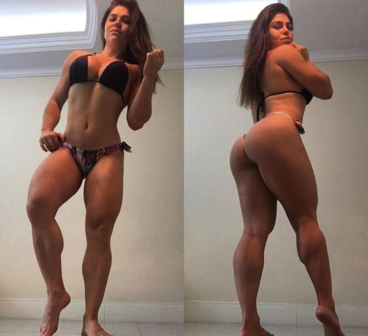 Flavia Baraky Tavares posing in a bikini, and displaying her glutes, legs, and arms