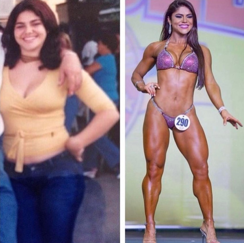 Flavia Baraky Tavares transformation from overweight to fit model on a stage