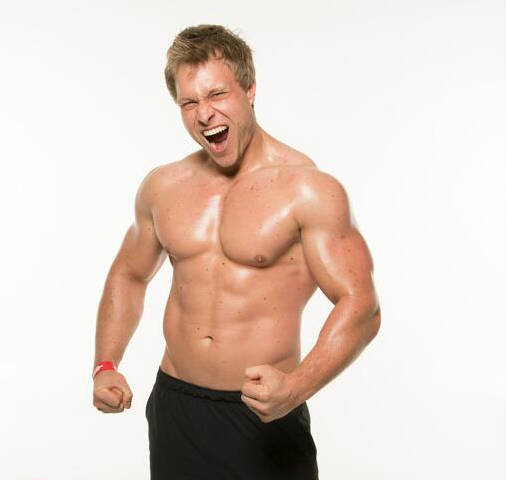 furious pete tensing his arms topless