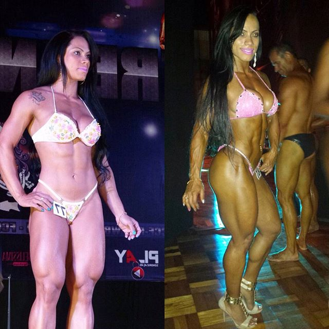 Izabelly Araujo on the stage in a bikini outfit, looking ripped and stage-ready