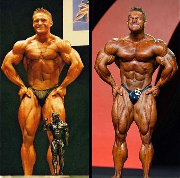 Transformation of James Flex Lewis on the stage, left being 20 year old, on the right being several years older