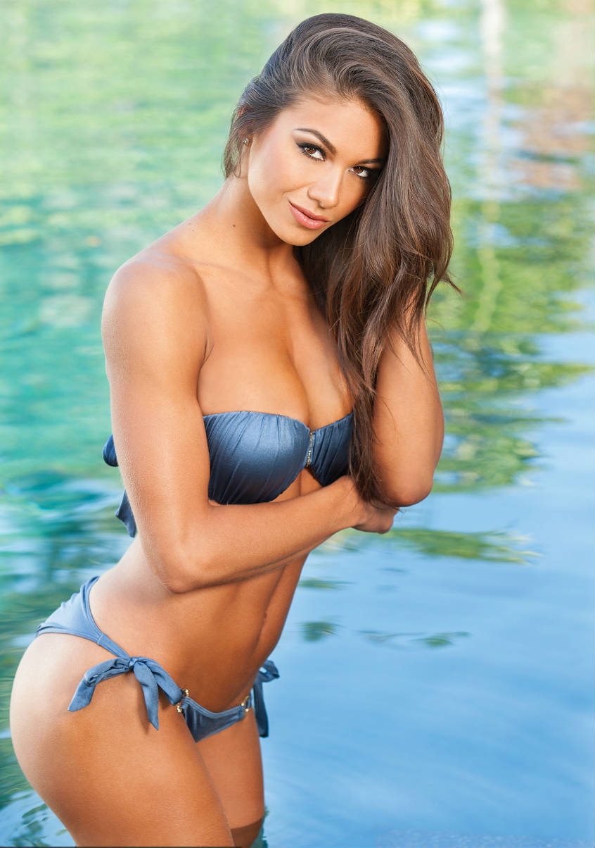 janet layug wearing a blue bikini