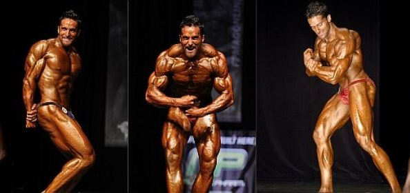 Layne Norton in three different poses on the bodybuilding stage