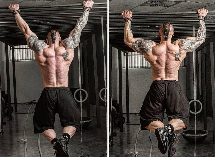 Miha Zupan completing a pull up on a bar