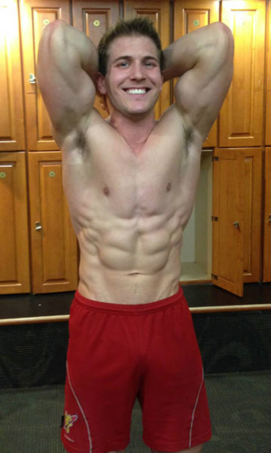 scott herman showing off his abdominals