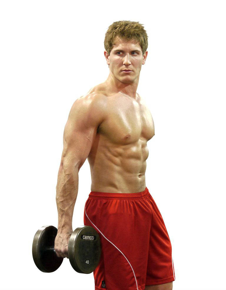 scott herman with red shorts on holding a dumbbell