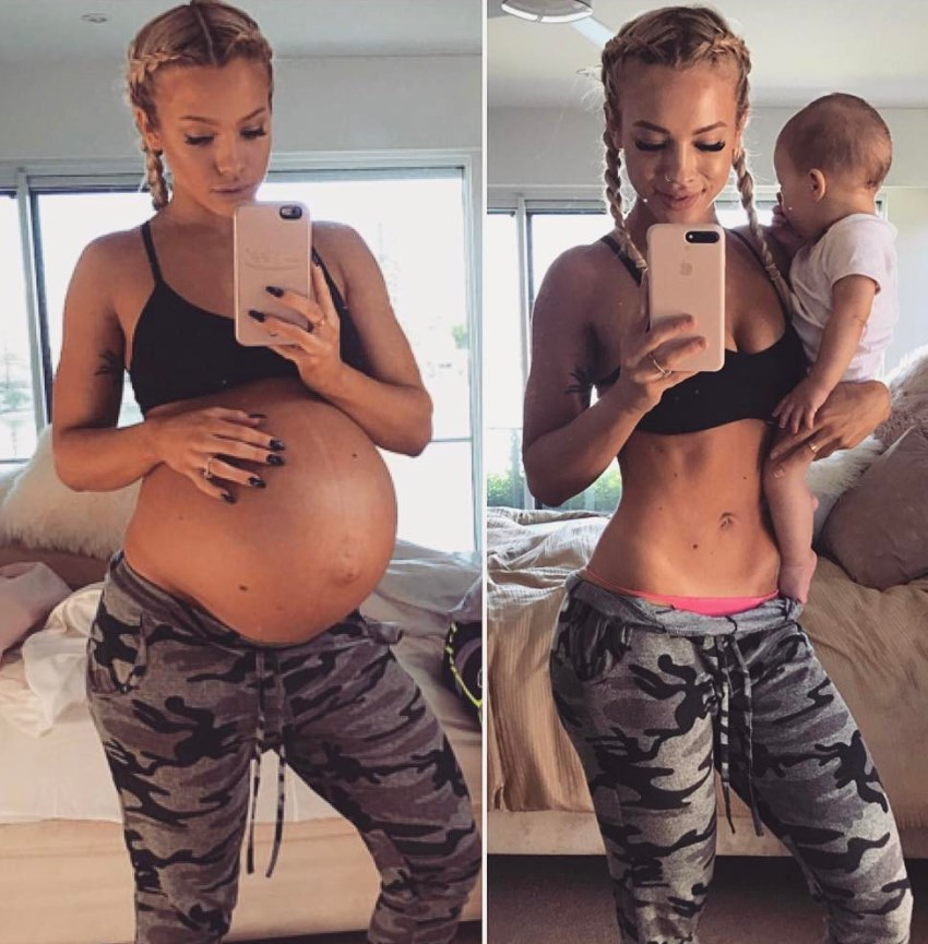 Tammy Hembrow transformation from pregnant to fit