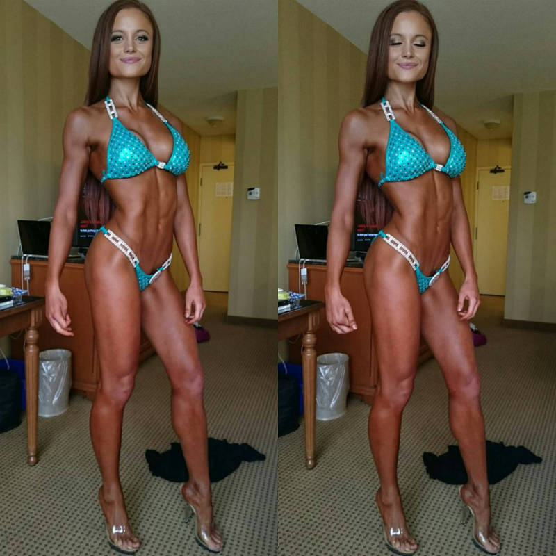 Abby Pollock tanned up before a competition, showing her toned abs, quads and arms